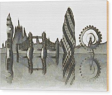 London Skyline Wood Print by Michal Boubin