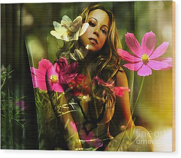 Mariah Carey Wood Print by Marvin Blaine