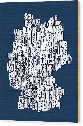 Text Map Of Germany Map Wood Print by Michael Tompsett