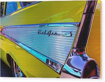 1957 Chevy Bel Air Custom Hot Rod Wood Print by David Patterson