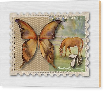 7 Cent Butterfly Stamp Wood Print by Amy Kirkpatrick
