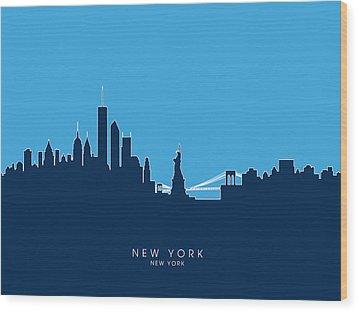 New York Skyline Wood Print by Michael Tompsett