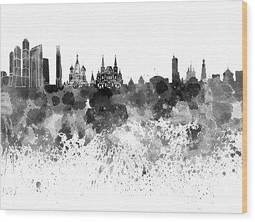 Moscow Skyline White Background Wood Print by Pablo Romero