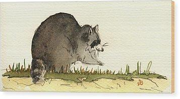Raccoon  Wood Print by Juan  Bosco