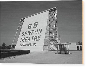 Route 66 - Drive-in Theatre Wood Print by Frank Romeo