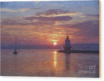 Sunrise At Spring Point Lighthouse Wood Print by Diane Diederich