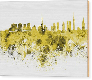 Tokyo Skyline In Watercolor On White Background Wood Print by Pablo Romero