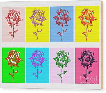 8 Warhol Roses By Punt Wood Print by Gordon Punt