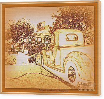 A And W Drive In Wood Print by Bobbee Rickard