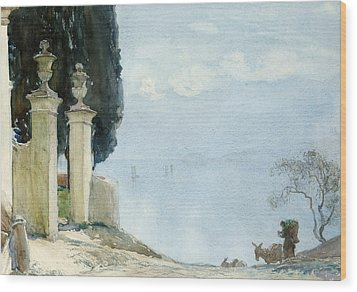 A Blue Day On Como Wood Print by Joseph Walter West