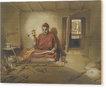 A Buddhist Monk, From India Ancient Wood Print by William 'Crimea' Simpson