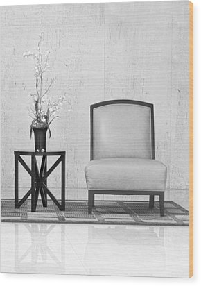 A Chair And A Table With A Plant  Wood Print by Rudy Umans