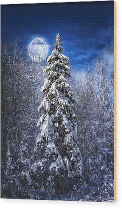 A Cold Night In Northern Maine Wood Print by Gary Smith