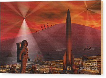 A Colony Being Established On An Alien Wood Print by Mark Stevenson