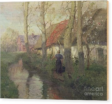 A French River Landscape With A Woman By Cottages Wood Print by Fritz Thaulow