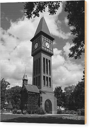 A German Bell Tower Bw Wood Print by Mel Steinhauer