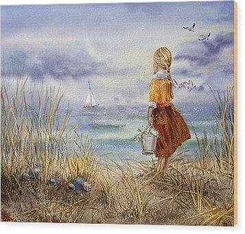 A Girl And The Ocean Wood Print by Irina Sztukowski