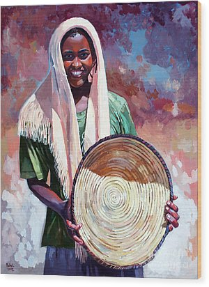 A Girl From The Countryside Wood Print by Mohamed Fadul