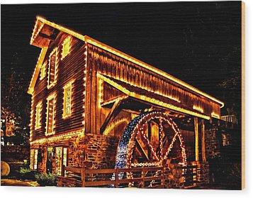 A Mill In Lights Wood Print by DJ Florek