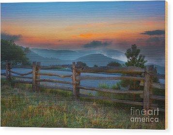 A New Beginning - Blue Ridge Parkway Sunrise I Wood Print by Dan Carmichael