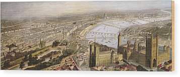 A Panoramic View Of London Wood Print by English School