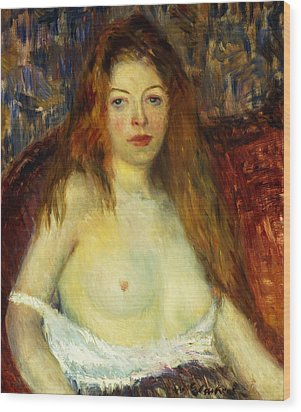 A Red-haired Model Wood Print by William James Glackens