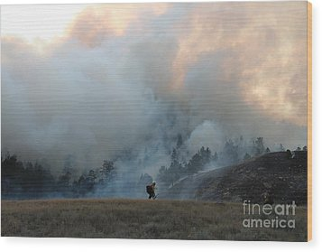 Wood Print featuring the photograph A Solitary Firefighter On The White Draw Fire by Bill Gabbert