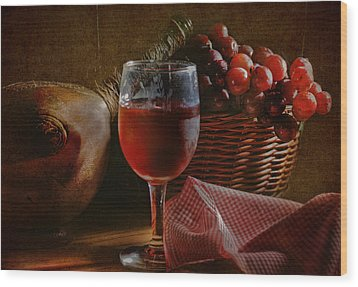 A Taste Of The Grape Wood Print by David and Carol Kelly