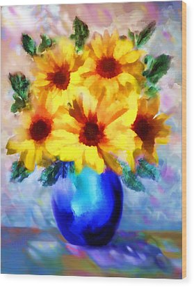 A Vase Of Sunflowers Wood Print by Valerie Anne Kelly