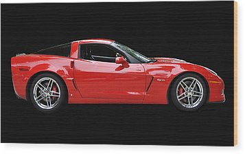 A Very Red Corvette Z6 Wood Print by Allen Beatty