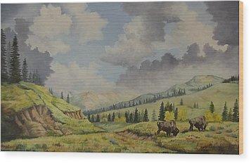 A Warm Day At Yellowstone Nat. Park Wood Print by Wanda Dansereau