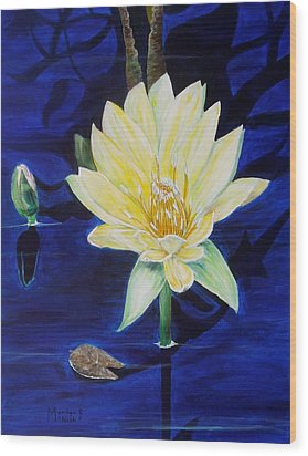 A Waterlily Wood Print by Marilyn  McNish
