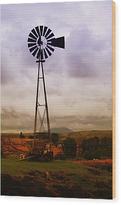 A Windmill And Wagon  Wood Print by Jeff Swan