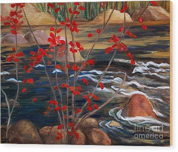 A Y Jackson The Red Maple Inspired Wood Print by Sherrill McCall
