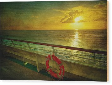 Aboard The Ship Wood Print by Kathy Jennings