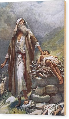 Abraham And Isaac Wood Print by Harold Copping