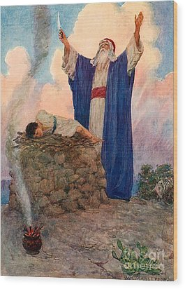 Abraham And Isaac On Mount Moriah Wood Print by William Henry Margetson