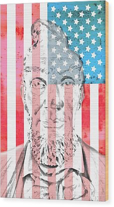 Abraham Lincoln Vintage American Flag Wood Print by Dan Sproul