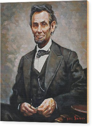 Abraham Lincoln Wood Print by Ylli Haruni