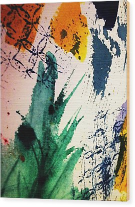 Abstract - Splashes Of Color Wood Print by Ellen Levinson