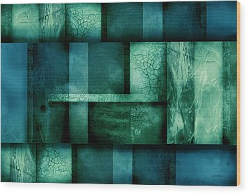 abstract art Blue Dream Wood Print by Ann Powell