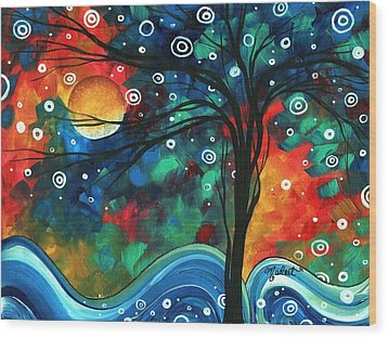 Abstract Art Original Landscape Colorful Painting First Snow Fall By Madart Wood Print by Megan Duncanson
