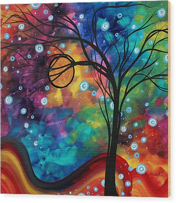 Abstract Art Original Painting Winter Cold By Madart Wood Print by Megan Duncanson