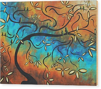 Abstract Bird Painting Original Art Madart Tree House Wood Print by Megan Duncanson