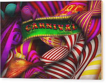 Abstract - Carnival Wood Print by Mike Savad