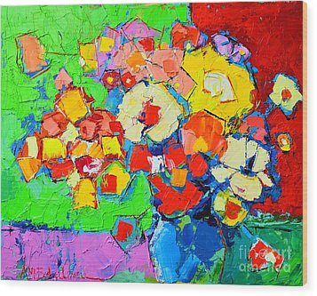 Abstract Colorful Flowers Wood Print by Ana Maria Edulescu