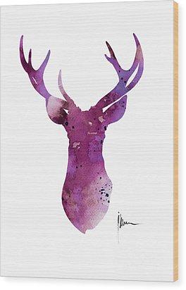 Abstract Deer Head Artwork For Sale Wood Print by Joanna Szmerdt