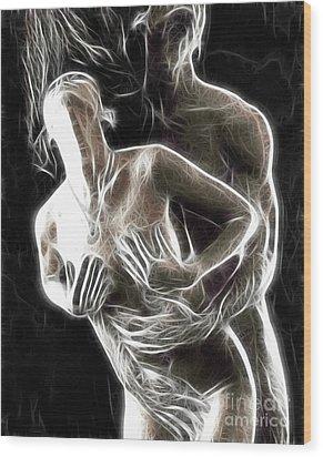 Abstract Digital Artwork Of A Couple Making Love Wood Print by Oleksiy Maksymenko