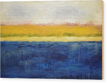 Abstract Dunes With Blue And Gold Wood Print by Michelle Calkins