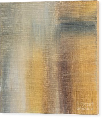 Abstract Golden Yellow Gray Contemporary Trendy Painting Fluid Gold Abstract II By Madart Studios Wood Print by Megan Duncanson